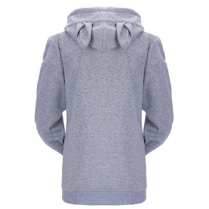 Women's Sneaky Spy Cat Carrier Hoodie Sweatshirt with Kitty Pouch-Hoodies & Sweatshirts-TheWantsies.com