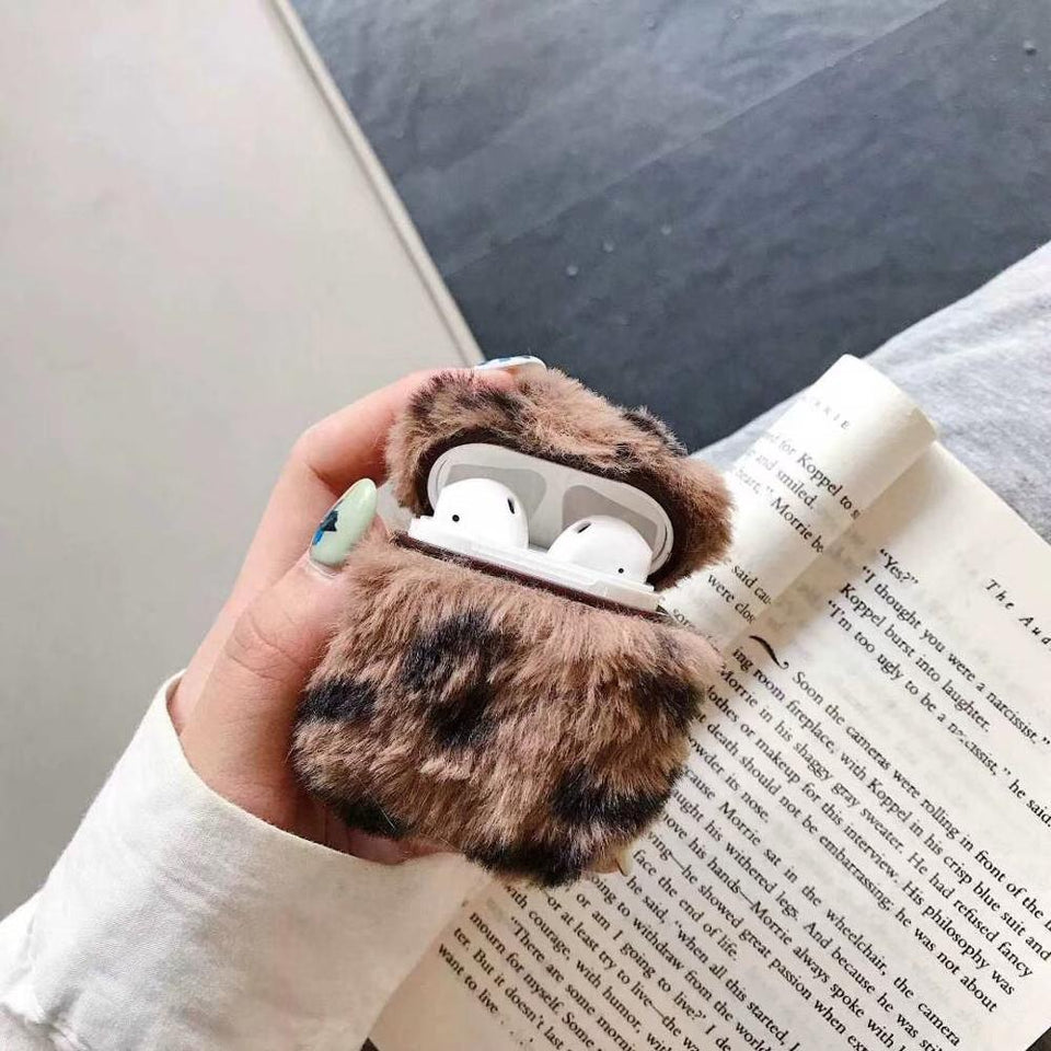 Designer Leopard Skin Soft Fur Protective Case For AirPods 1 & 2 with Carabiner-Protective Cases for Airpods-TheWantsies.com