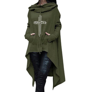 Green Women's Faith Hoodie Long Duster Sweatshirt-Hoodies & Sweatshirts-S-TheWantsies.com