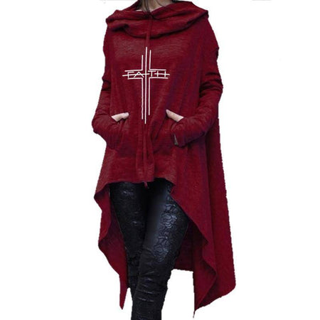 Red Women's Faith Hoodie Long Duster Sweatshirt-Hoodies & Sweatshirts-S-TheWantsies.com