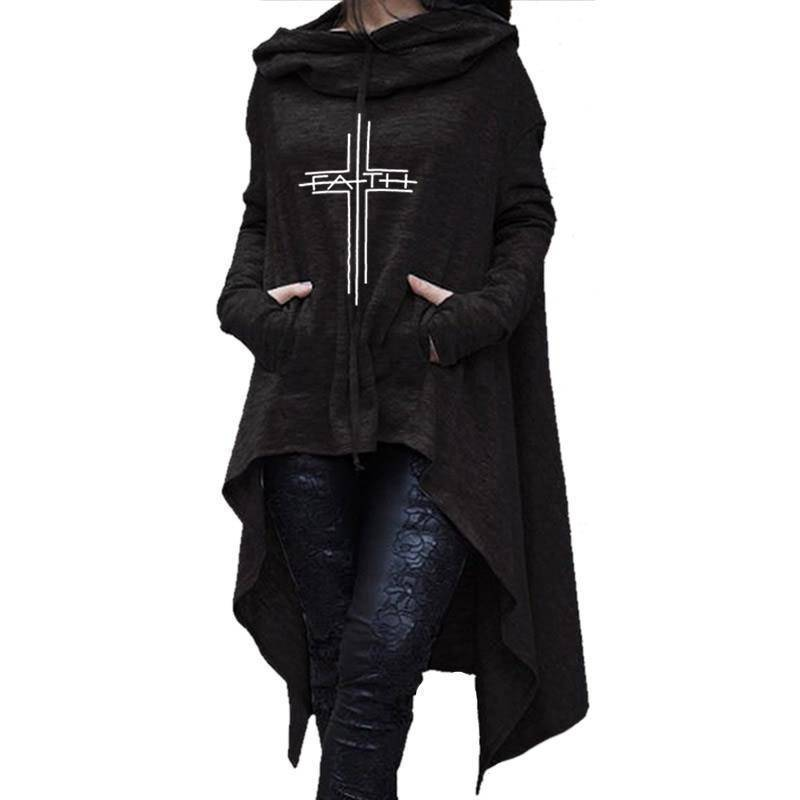 Black Women's Faith Hoodie Long Duster Sweatshirt-Hoodies & Sweatshirts-S-TheWantsies.com