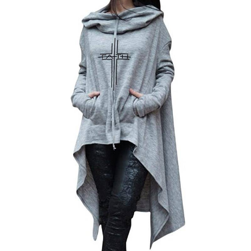 Gray Women's Faith Hoodie Long Duster Sweatshirt-Hoodies & Sweatshirts-S-TheWantsies.com