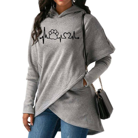 Women's Dog Paw Love Hoodie Sweatshirt-Hoodies & Sweatshirts-TheWantsies.com