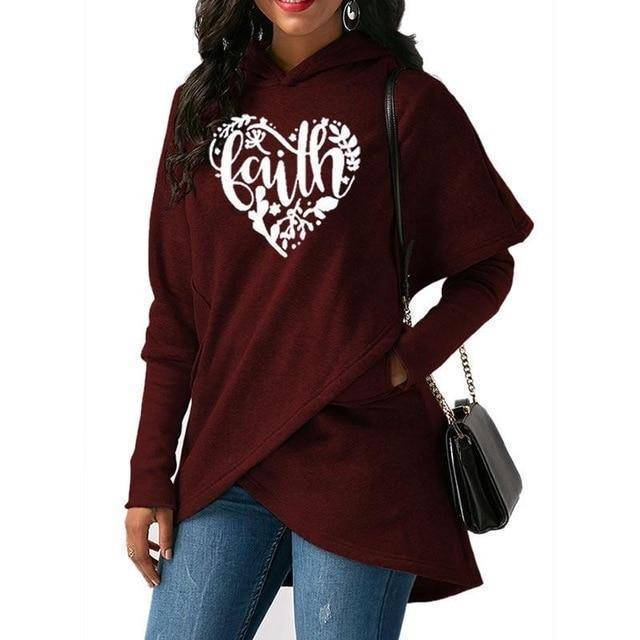 Red Women's Heart Faith Hoodie Floral Sweatshirt-Hoodies & Sweatshirts-S-TheWantsies.com