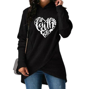 Black Women's Heart Faith Hoodie Floral Sweatshirt-Hoodies & Sweatshirts-S-TheWantsies.com