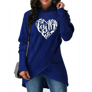 Blue Women's Heart Faith Hoodie Floral Sweatshirt-Hoodies & Sweatshirts-S-TheWantsies.com