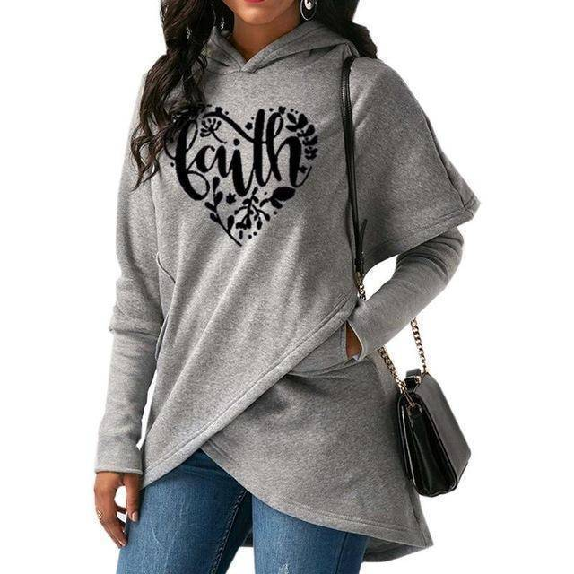Gray Women's Heart Faith Hoodie Floral Sweatshirt-Hoodies & Sweatshirts-S-TheWantsies.com