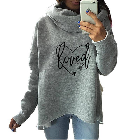 Red Women's Loved - 1 John 4:19 Bible Verse Cowl Neck Hoodie Sweatshirt-Hoodies & Sweatshirts-S-TheWantsies.com