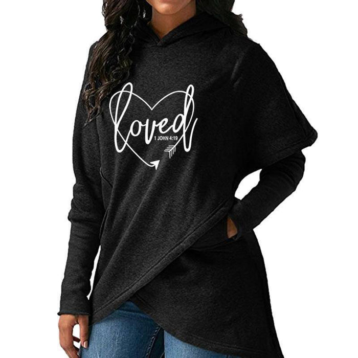 Women's Loved - 1 John 4:19 Bible Verse Hoodie Sweatshirt-Hoodies & Sweatshirts-TheWantsies.com