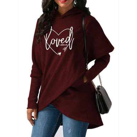 Red Women's Loved - 1 John 4:19 Bible Verse Hoodie Sweatshirt-Hoodies & Sweatshirts-S-TheWantsies.com
