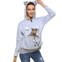 gray Women's Pet Carrier Hoodie Sweatshirt with Puppy Pouch-Hoodies & Sweatshirts-S-TheWantsies.com