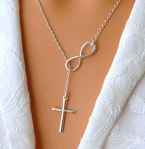 Faith Infinity Cross Silver Necklace Christian Jewelry-Jewelry-TheWantsies.com