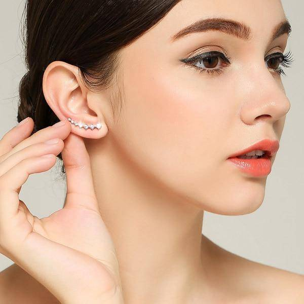 Sterling Silver Ear Climber Earrings-Jewelry-TheWantsies.com