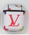 White LV LV Style Protective Case For AirPods 1 & 2 with Carabiner-Protective Cases for Airpods-TheWantsies.com