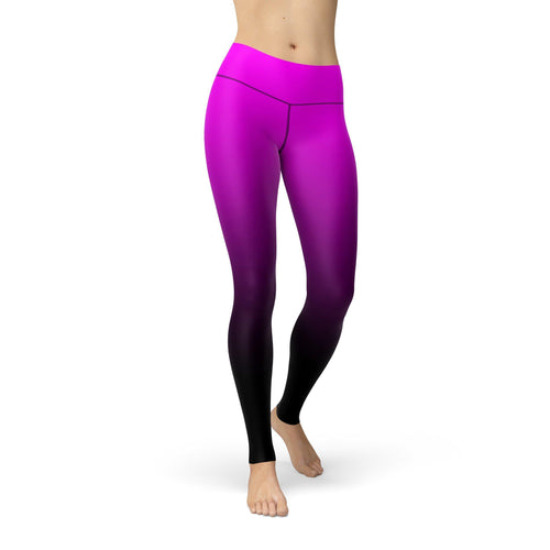 2XL WantsieFit Pink to Black Ombre Gym Workout Leggings-Leggings-TheWantsies.com