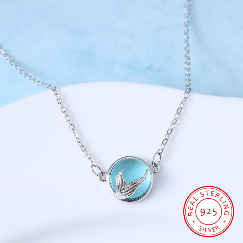 Wantsies 925 Sterling Silver Blue Crystal Mermaid Tears Necklace - Mermaid Jewelry-Necklaces-TheWantsies.com