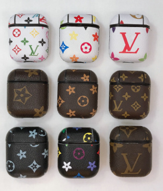 LV Style Protective Case For AirPods 1 & 2 with Carabiner-Protective Cases for Airpods-TheWantsies.com