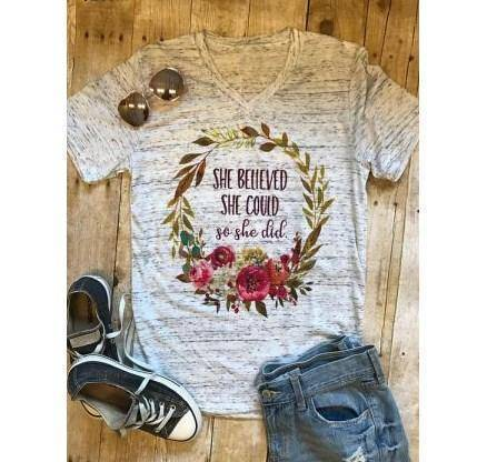 Women's Inspirational She Believed She Could So She Did T-Shirt Wantsie - Bible Verse Tee - Philippians 4:13-T-Shirts-TheWantsies.com