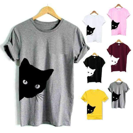 Gray Women's Sneaky Spy Cat Looking Outside T-shirt-T-Shirts-XXS-TheWantsies.com