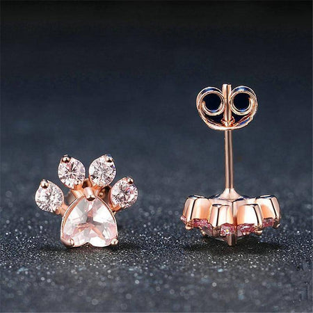 Rose Gold Dog Paw Stud Earrings-Stud Earrings-TheWantsies.com