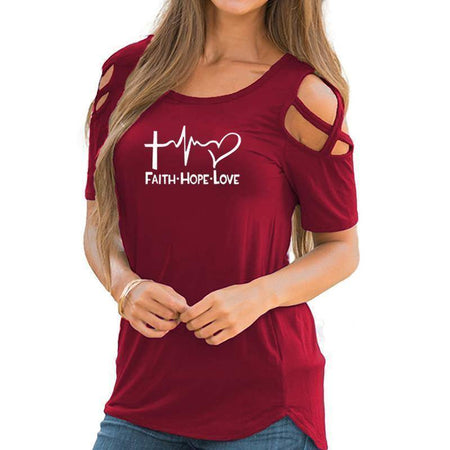 White Women's Faith Hope Love T-Shirt-T-Shirts-S-TheWantsies.com