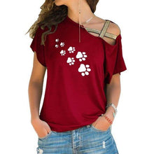 Red Women's Paw Print Cross Strap Off the Shoulder T-shirt-T-Shirts-S-TheWantsies.com