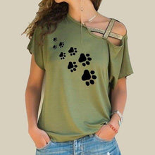Green Women's Paw Print Cross Strap Off the Shoulder T-shirt-T-Shirts-S-TheWantsies.com