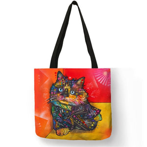 001 Colorful Cat Lover Oil Painting Tote Shopping Bag-Top-Handle Bags-TheWantsies.com