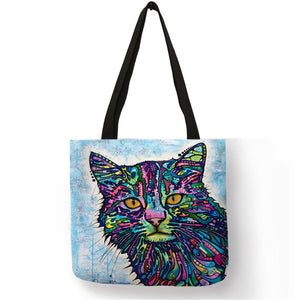 002 Colorful Cat Lover Oil Painting Tote Shopping Bag-Top-Handle Bags-TheWantsies.com