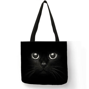 002 Sneaky Spy Cat Tote Kitty Cat Shopping Bag-Top-Handle Bags-TheWantsies.com