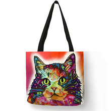 003 Colorful Cat Lover Oil Painting Tote Shopping Bag-Top-Handle Bags-TheWantsies.com