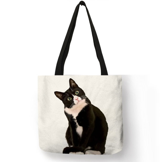 003 Sneaky Spy Cat Tote Kitty Cat Shopping Bag-Top-Handle Bags-TheWantsies.com