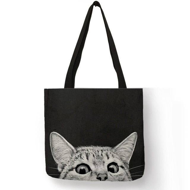 004 Sneaky Spy Cat Tote Kitty Cat Shopping Bag-Top-Handle Bags-TheWantsies.com