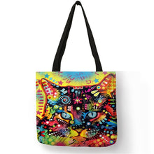004 Colorful Cat Lover Oil Painting Tote Shopping Bag-Top-Handle Bags-TheWantsies.com