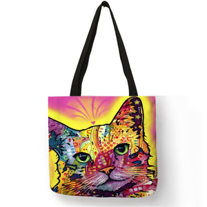 005 Colorful Cat Lover Oil Painting Tote Shopping Bag-Top-Handle Bags-TheWantsies.com