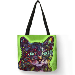 006 Colorful Cat Lover Oil Painting Tote Shopping Bag-Top-Handle Bags-TheWantsies.com