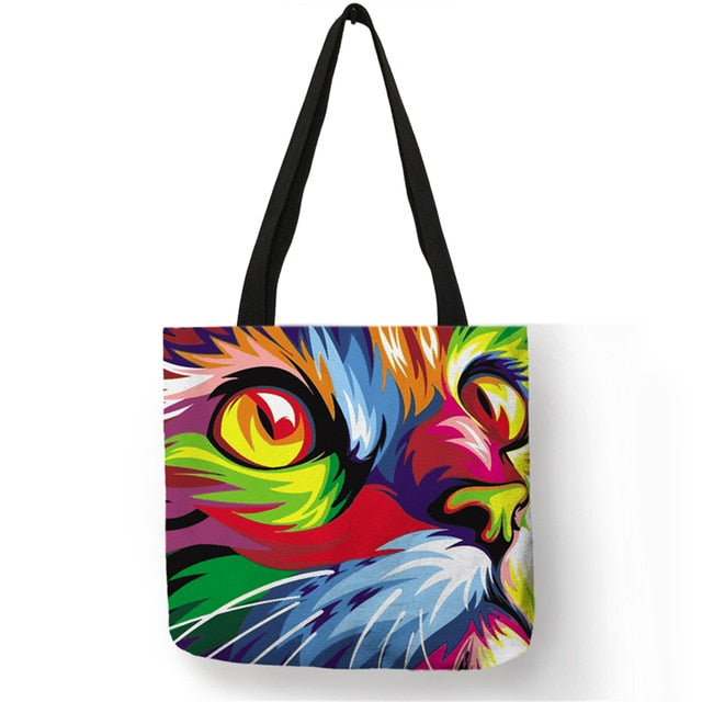 007 Colorful Cat Lover Oil Painting Tote Shopping Bag-Top-Handle Bags-TheWantsies.com