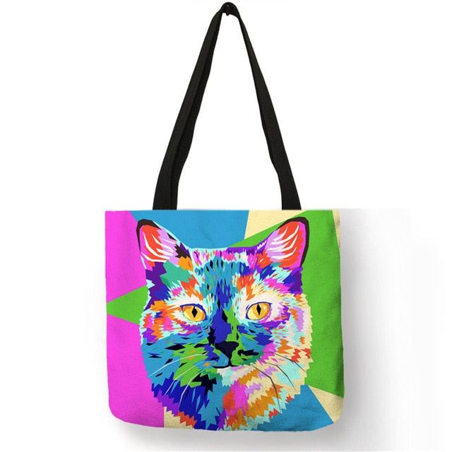 008 Colorful Cat Lover Oil Painting Tote Shopping Bag-Top-Handle Bags-TheWantsies.com