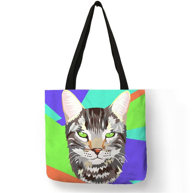 009 Colorful Cat Lover Oil Painting Tote Shopping Bag-Top-Handle Bags-TheWantsies.com