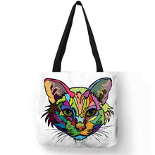 010 Colorful Cat Lover Oil Painting Tote Shopping Bag-Top-Handle Bags-TheWantsies.com