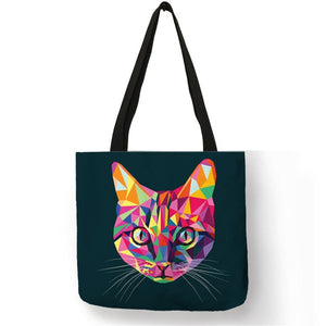 011 Colorful Cat Lover Oil Painting Tote Shopping Bag-Top-Handle Bags-TheWantsies.com