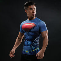 """Superman"" WantsieFit Mens Superhero Compression T-Shirt-T-Shirts-S-TheWantsies.com"