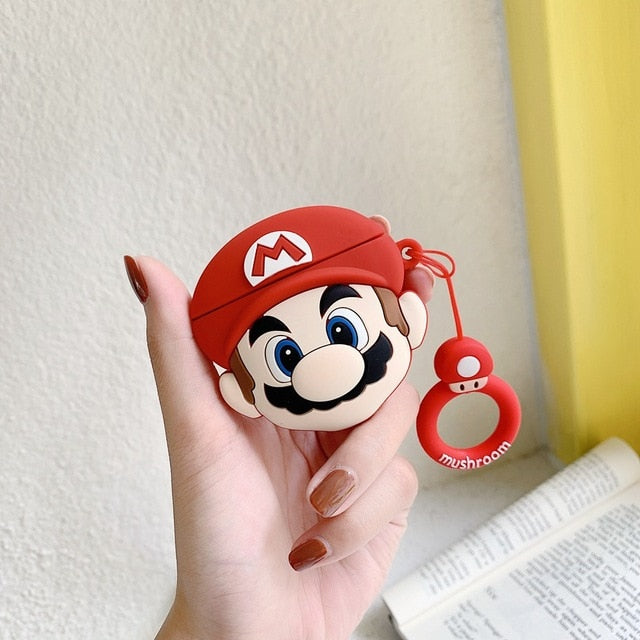 A1 Super Mario Bros Mushroom Silicone Shockproof Protective Case For AirPods 1 & 2 with Ring-Protective Cases for Airpods-TheWantsies.com