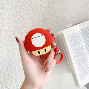 A2 Super Mario Bros Mushroom Silicone Shockproof Protective Case For AirPods 1 & 2 with Ring-Protective Cases for Airpods-TheWantsies.com