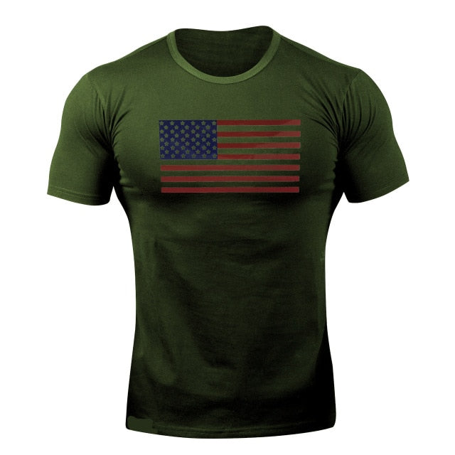 Army Green Flag WantsieFit Mens American Flag Fitness Compression T-Shirt - Bodybuilding Athletic Fit-T-Shirts-M-TheWantsies.com