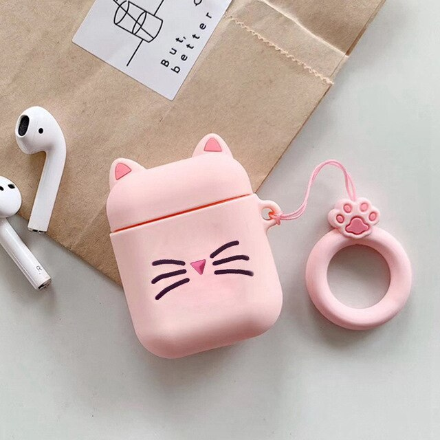 B2 - Pink Kitty Cat Whiskers Silicone Shockproof Protective Case For AirPods with Ring-Protective Cases for Airpods-TheWantsies.com