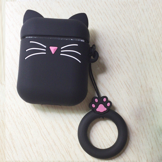B6 - Black Ears Kitty Cat Whiskers Silicone Shockproof Protective Case For AirPods with Ring-Protective Cases for Airpods-TheWantsies.com
