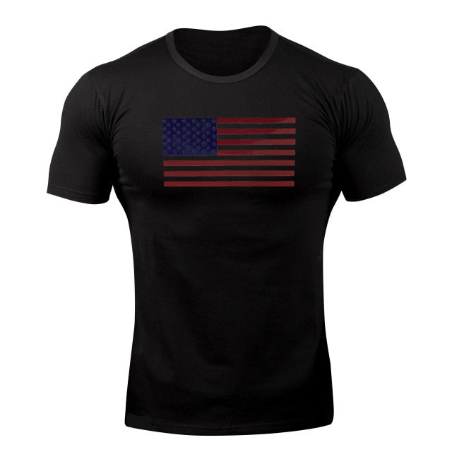 Black Flag WantsieFit Mens American Flag Fitness Compression T-Shirt - Bodybuilding Athletic Fit-T-Shirts-M-TheWantsies.com