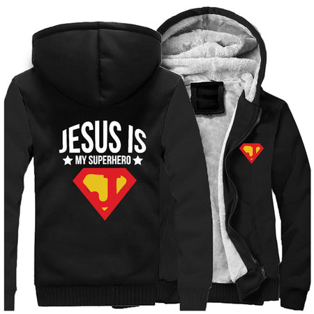 Wine Red 1 Jesus is My Superhero Thick Fleece Hoodie Sweatshirt-Hoodies & Sweatshirts-M-TheWantsies.com