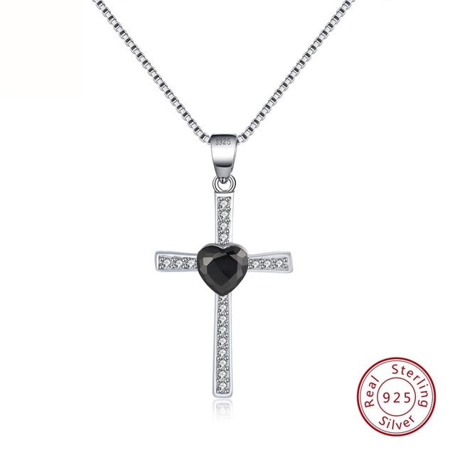 Black CZ 925 Sterling Silver Faith Heart Cross Crystal Jewelry Pendant Necklace-Pendants-TheWantsies.com